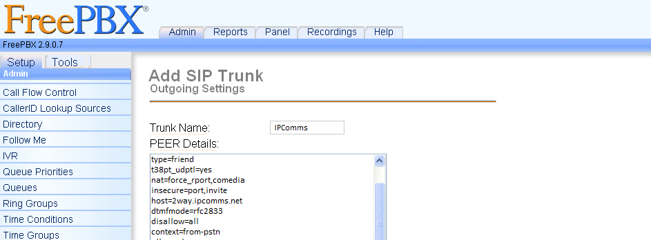 IPComms SIP Trunk Registration (Asterisk/FreePBX)