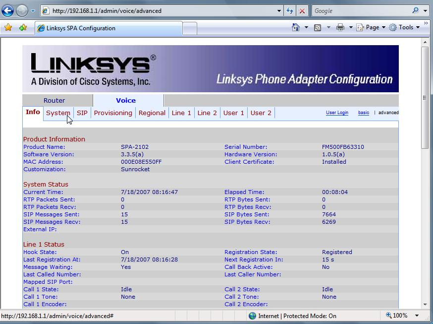 Linksys 2102 Sample config ipcomms.net
